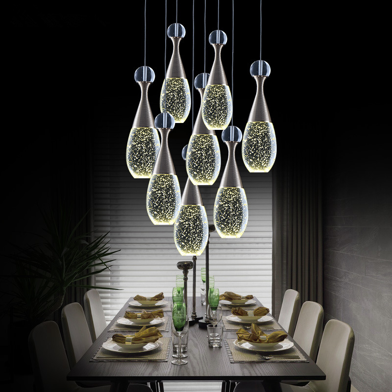 ФОТО Modern Creative  Bubble Column Crystal Meals Single-end LED Round Coffee Bar Pendant Lamp