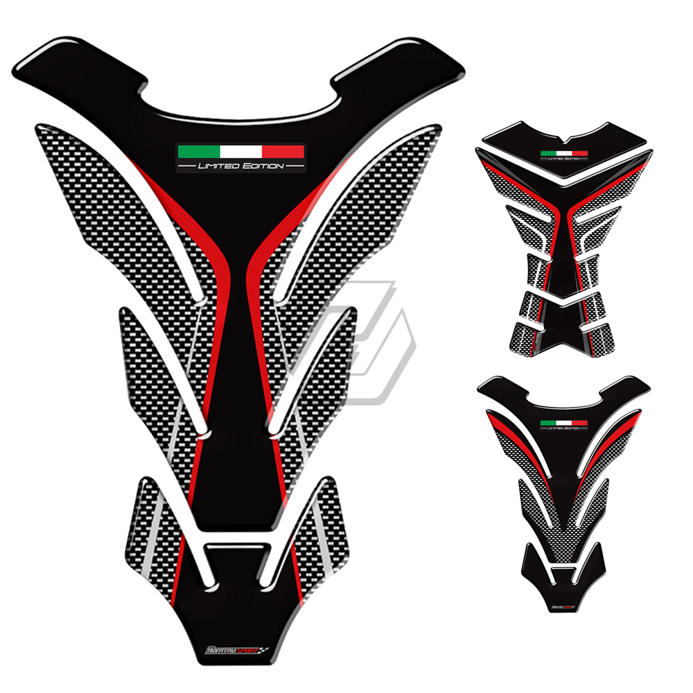 3D Carbon-look Motorcycle Tank Pad Protector Decal Stickers Case for Honda Suzuki Kawasaki Ducati Aprilia RV4 Italy Flag Tank scooter parts real carbon fiber 3d tank pad protector fits for kawasaki z1000 2007 2009 carbon free shipping