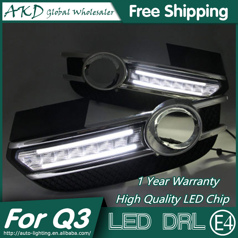 AKD Car Styling LED Fog Lamp for Audi Q3 DRL 2014-2015 LED Daytime Running Light Fog Light Parking Signal Accessories akd car styling for ford fiesta drl 2013 2014 cob signal drl led fog lamp daytime running light fog light parking accessories