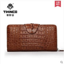 tihinco men Hand bag leather high-capacity long men clutches man casual handbags male business crocodile hand caught men bag