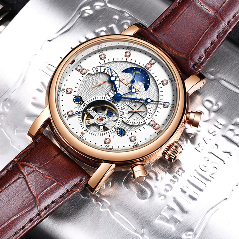 LIGE 2019 New Men Mechanical Tourbillon Luxury Fashion Brand Leather Men Sport Watches Mens Automatic Watch Relogio Masculino Karachi