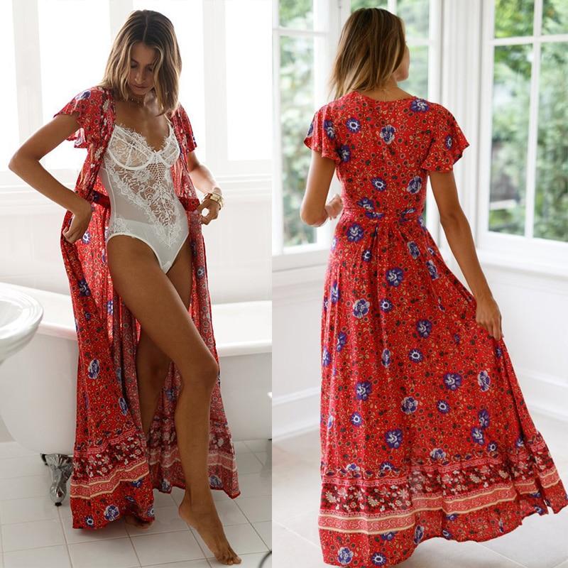 Women Vintage Floral Print Boho Dress
