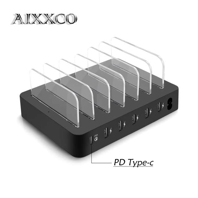 AIXXCO Quick Type C PD 6 Port USB Charging Station Dock 45W 9A USB Charger Fast USB Charging Dock For iPone Xiaomi Tablet