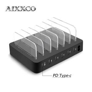 Image 1 - AIXXCO Rapido Tipo C PD 6 Port USB di Ricarica Dock Station 45W 9A USB Fast Charger USB di Ricarica dock Per il iPone Xiaomi Tablet