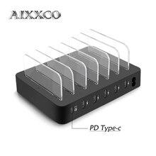Aixxco Nhanh Chóng Loại C PD 6 Cổng Sạc USB Trạm Dock 45W 9A USB Sạc Nhanh USB Sạc cho IPone Xiaomi Máy Tính Bảng