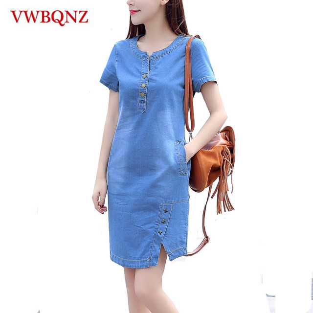 1e8b3aacaf446 US $10.32 58% OFF|Korean denim dress for women 2019 new summer casual jeans  dress with pocket slim Short sleeve Vintage denim dress plus size 3XL-in ...