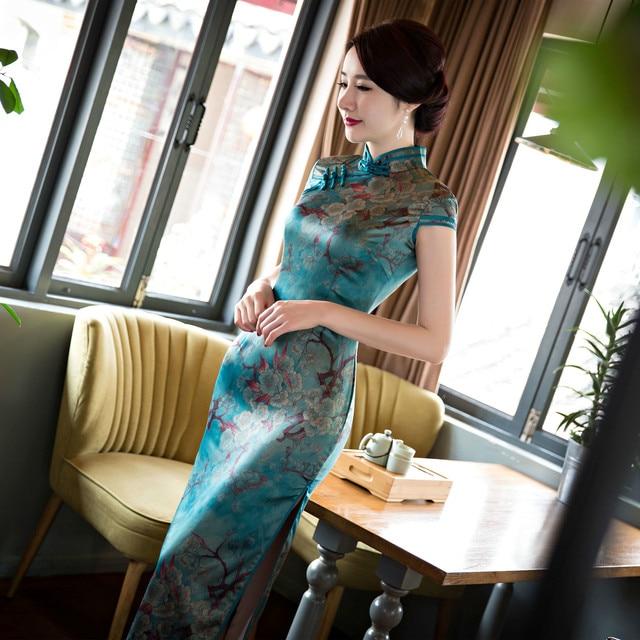 Cheongsam Oriental Dresses Traditional Chinese Qipao Trim Silk Printing Split Stand Collar Short Sleeve Long Cheongsam