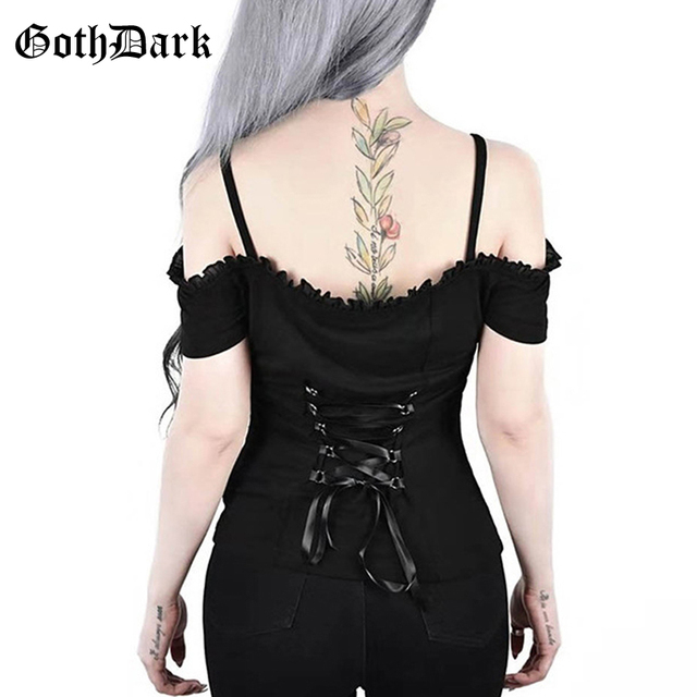 Gothic lace up t-shirt top black off shoulder ruffle sling clothes t-shirts for women short sleeve backless slim fit sexy top