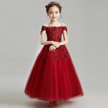 2019 Spring Summer Elegant Children Girls Appliques Flowers Birthday Evening Party Mesh Dress Kids Shoulderless Costume Dress