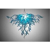 Fancy Turquoise Blue LED Murano Glass Chandelier Lightings Art Store Decor