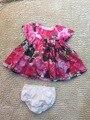 4 стилей летний Ребенок костюм Девушки Розовые розы с коротким рукавом Dress + маленький белье 2 шт. набор оптовая