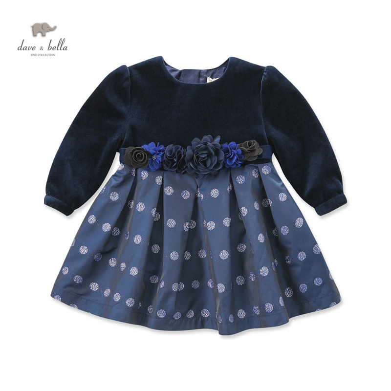 DB4152 dave bella autumn fall baby girl navy dots printed dress girls party birthday dress
