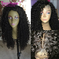 "Virgin Mongolian Kinky Curly Lace Front Human Hair Wigs For Black Women 13""x 6"" 150 Density Front Lace Wigs Baby Hair Side Part"