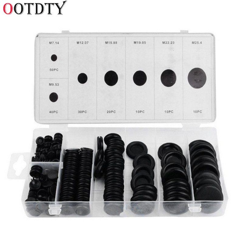 OOTDTY 170 Rubber Grommet Assortment Firewall Hole Plug Set Electrical Wire Gasket Kit wholesale rubber oem sealing plug hole waterproof rubber cap plug silicone round plug for 15mm 15 5mm 39 64 19 32 diameter hole