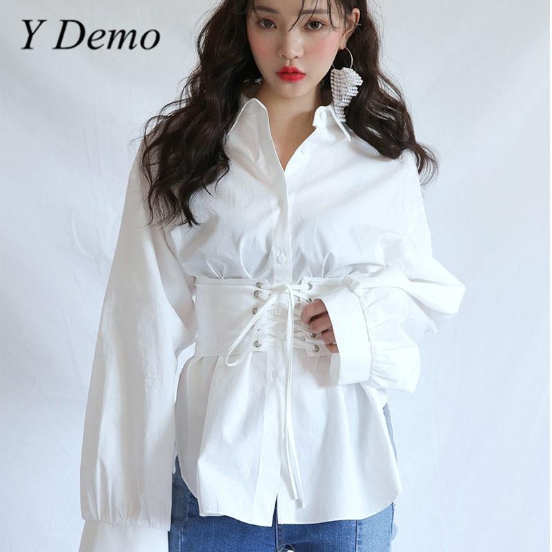High Street Elegant Waist Belt Womens Shirt Long Sleeve Loose Cotton White Blouse