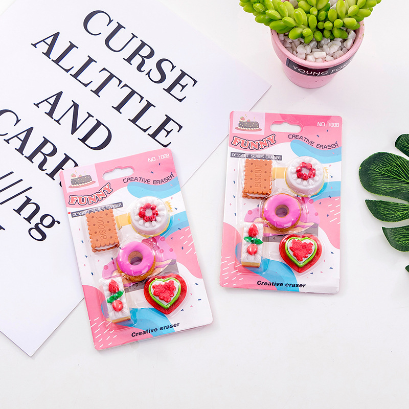 10 Set/lot  Cute Biscuit Doughnuts Donuts Blister-card Eraser / Rubber Eraser Suit / Student Eraser/toy Children Gift