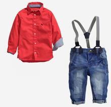 Розничная мальчик красивый устанавливает красные рубашки с длинным рукавом с ремень джинсы 2 в комплект мальчик мода устанавливает 2 — 7 т T5627
