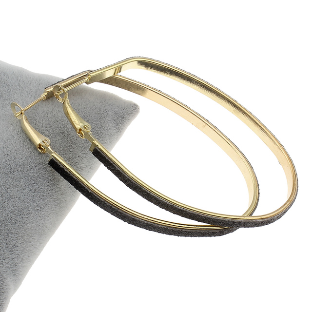 1 Pair Whole Price Gold Color Hoop Earring Leather Charm Designs Punk Fashion Women