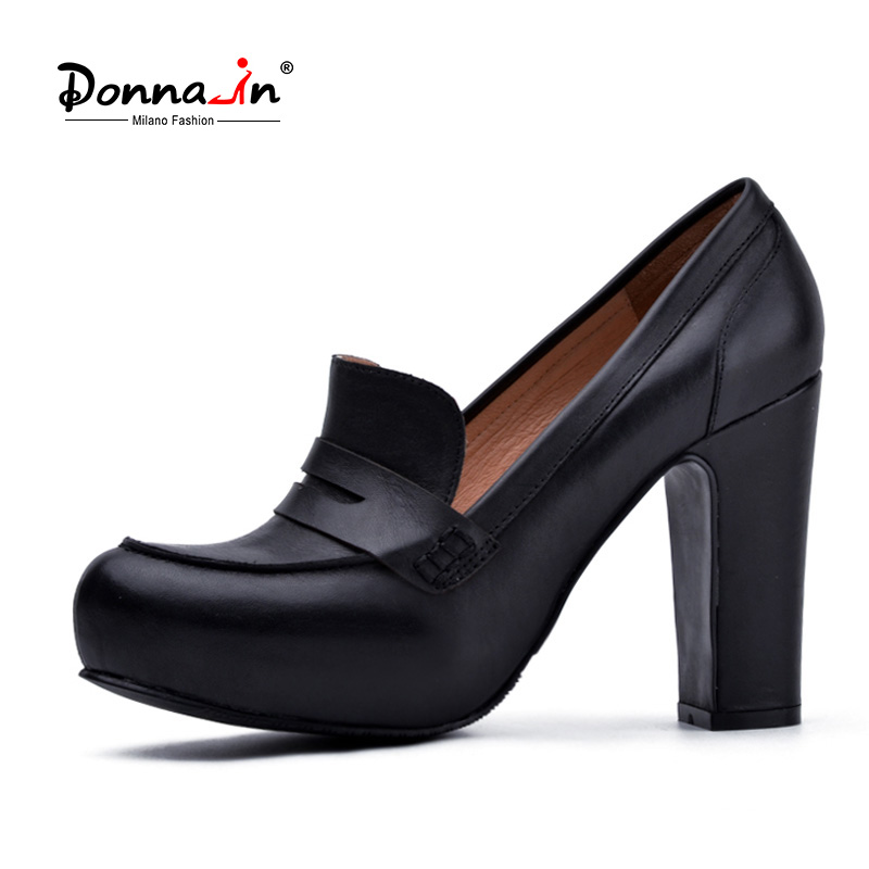 Donna-in Women Black Genuine Leather High Heels Platform Pumps Round Toe Thick Heel Women's Shoes New Fashion Sexy Ladies Pump wetkiss genuine leather lace up pumps female shoes woman pointed toe autumn thick high heels platform ladies shoes black yellow