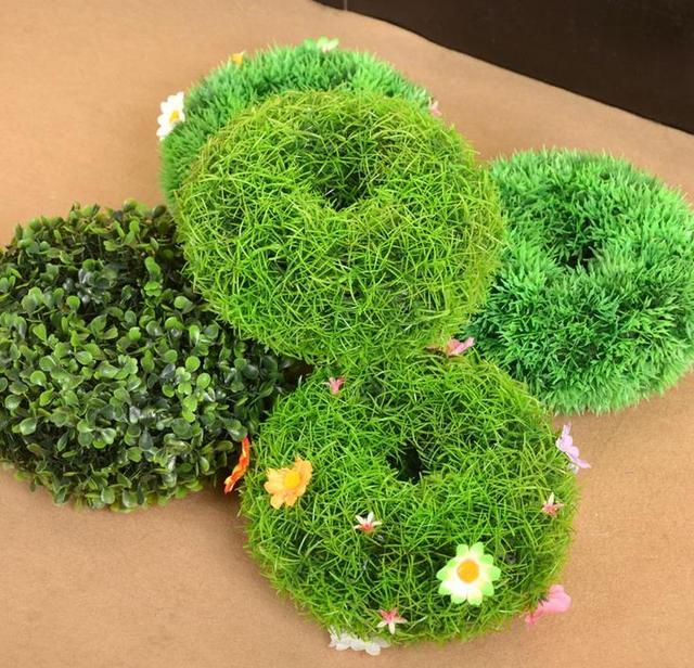 Merveilleux 12cm Diameter Artificial Topiary Hollow Balls With Flowers Outdoor Hanging  Baskets Grass Balls Lawns Garden Floor
