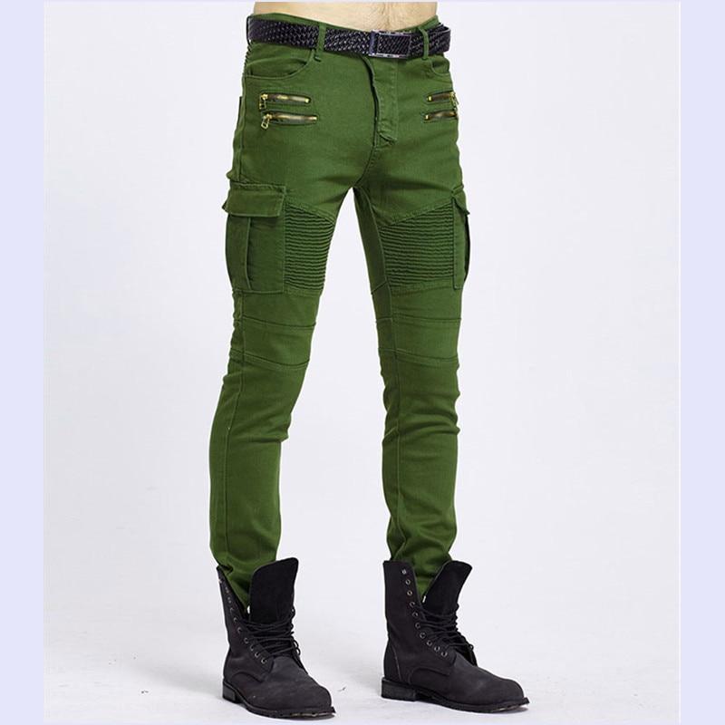 Casual Men Skinny Pencil Biker Jeans Cotton Zipper Black Army Green Hip Pop Slim Fit Denim Male Jeans Pants With Pocket Size 3XL