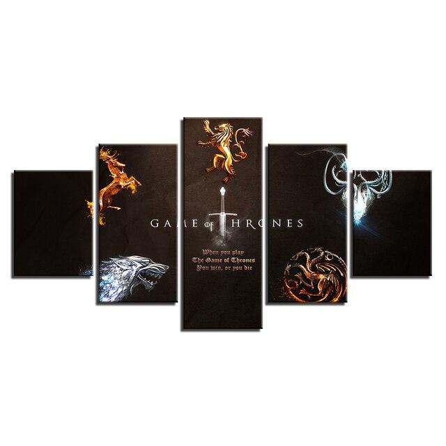 "5 Pieces ""Game Of Thrones"" Canvas 3"