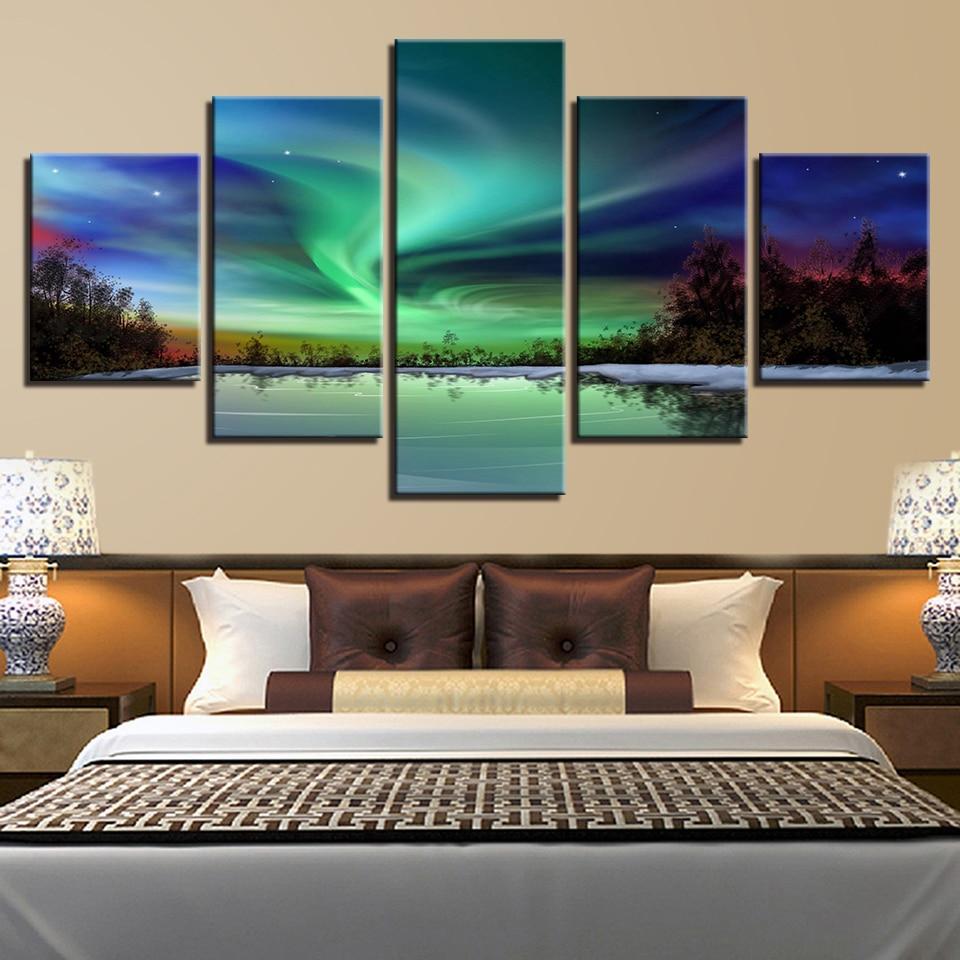 Sala impreso Pictures Decoración para el hogar lona 5 panel Aurora ...