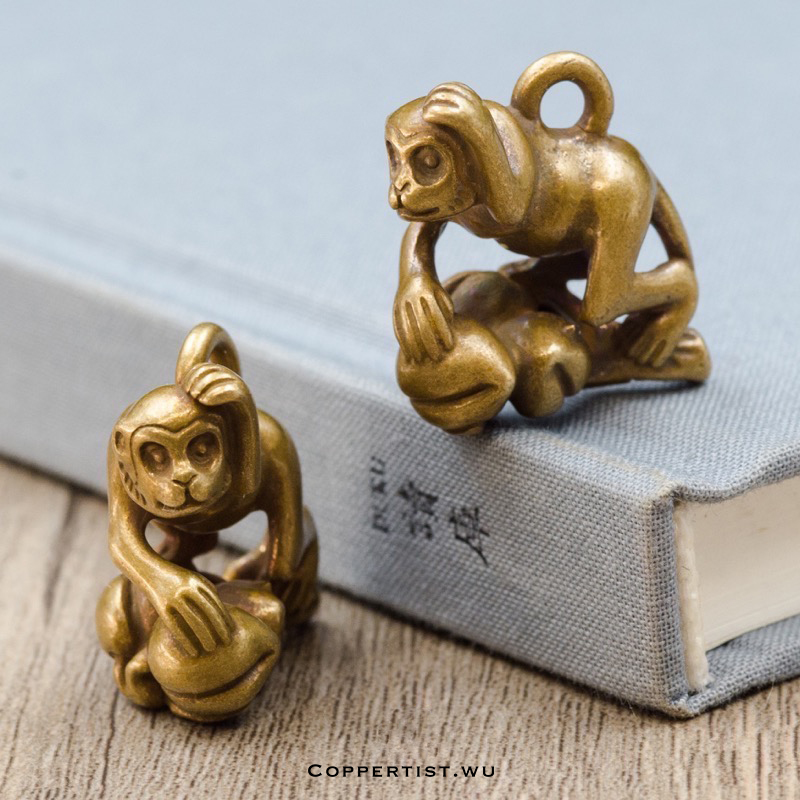 coppertist wu interesting monkey bronze keychain brass handmade key chain gold fashion animal key ring HandBag Pendant handcraft in Key Chains from Jewelry Accessories