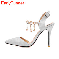 2017 Summer New Hot Sweet Gold Silver Purple Women Sandals Sexy Pearls Lady Party Slingback Shoes