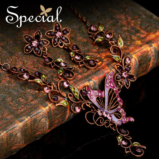 Special 50% Off Purple Butterfly Pendant Chunky Chain Necklaces Flower Drop Earrings Free Shipping Alloy Jewelry Sets TZ141104