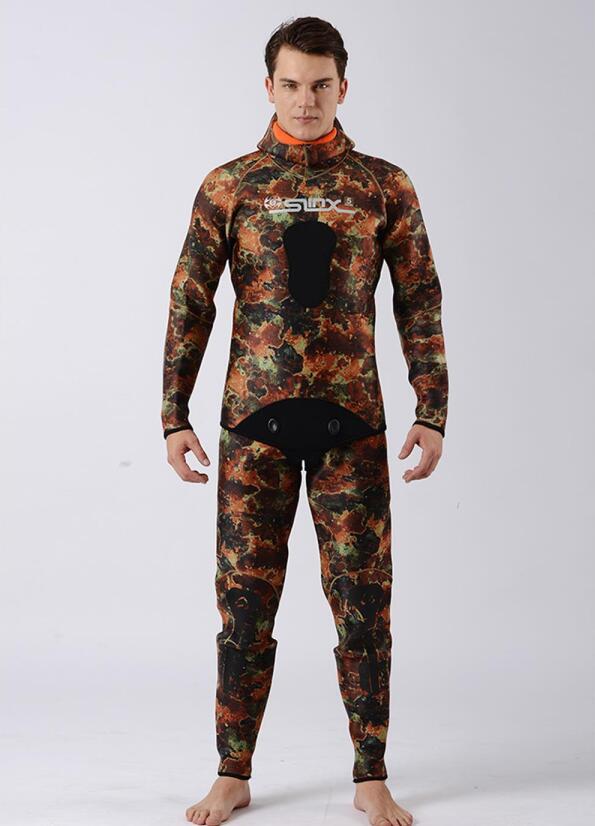 Mooi Mannen Plus Size Duikpak Wetsuit Warm Houden 5mm Neopreen Twee Stukken Blind Stiksels Jumpsuit Hooded Volledige Surfen Pak Camouflage