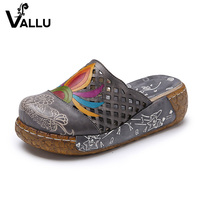 2017 Women Summer Shoes Slides Genuine Leather Platform Women Slippers Cover Toes Cut Out