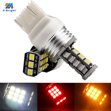 YM E-parlak 4 adet T20 7443 W21/5W 2835 21 SMD 7444NA 21 led fren lambaları 12V 24V nonpolarite 420Lm CANBUS beyaz Amber kırmızı