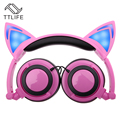TTLIFE Foldable Flashing Glowing cat ear headphones Gaming Headset Earphone with LED light For PC Laptop Computer Mobile Phone
