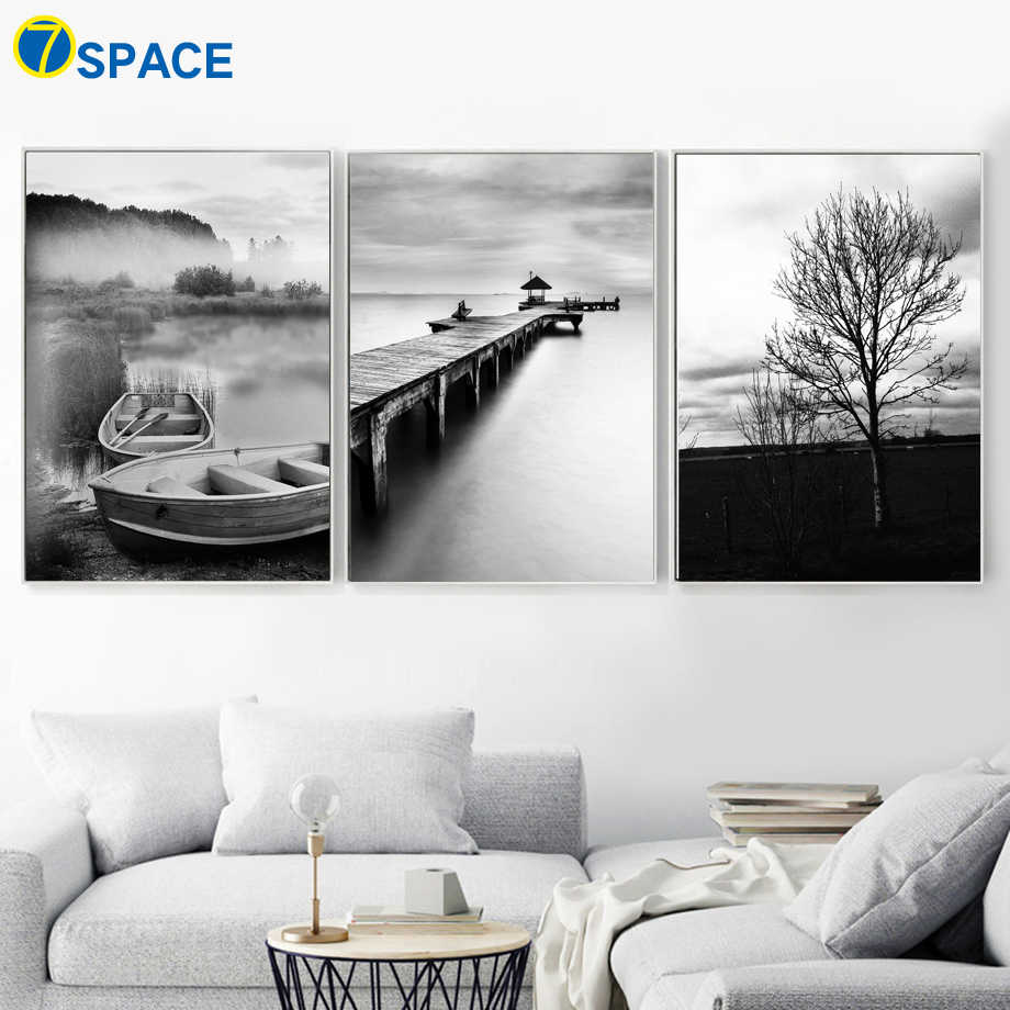 Ship bridge Tree Sea Natural Wall Art Canvas Painting Nordic Posters And Prints Black White Wall Pictures For Living Room Decor