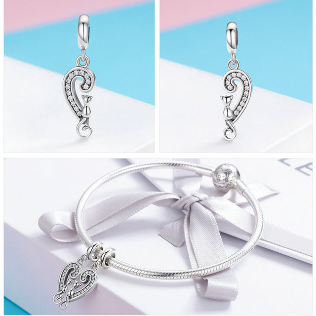 925 Sterling Silver Cat Heart Shaped Charm