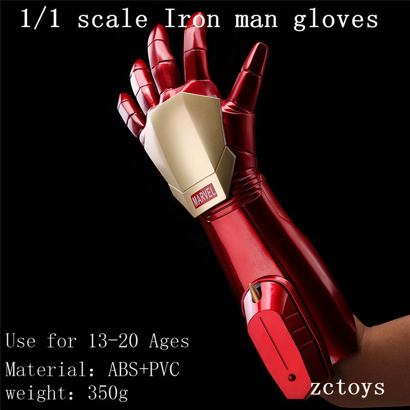 The Avengers 1/1 Scale Iron Man Gloves Cosplay Figure Model Toy Ironman Launch Laser Light Doll