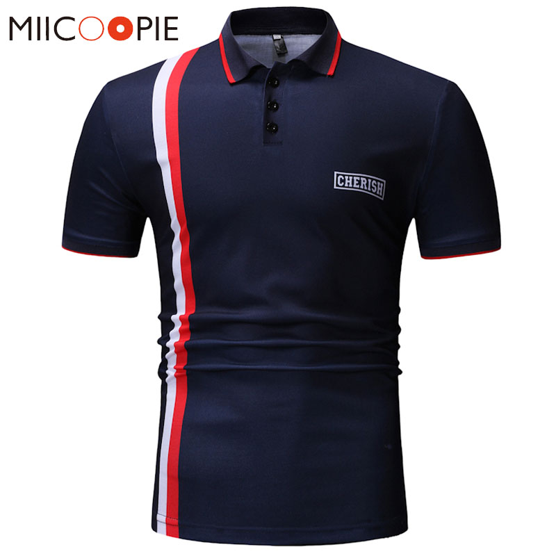 New   Polos   Mens Letters Printed   Polo   Shirts Short Sleeve Camisas Casual Stand Collar Male Slim Fit   Polo   Homme Cotton Mens   Polos