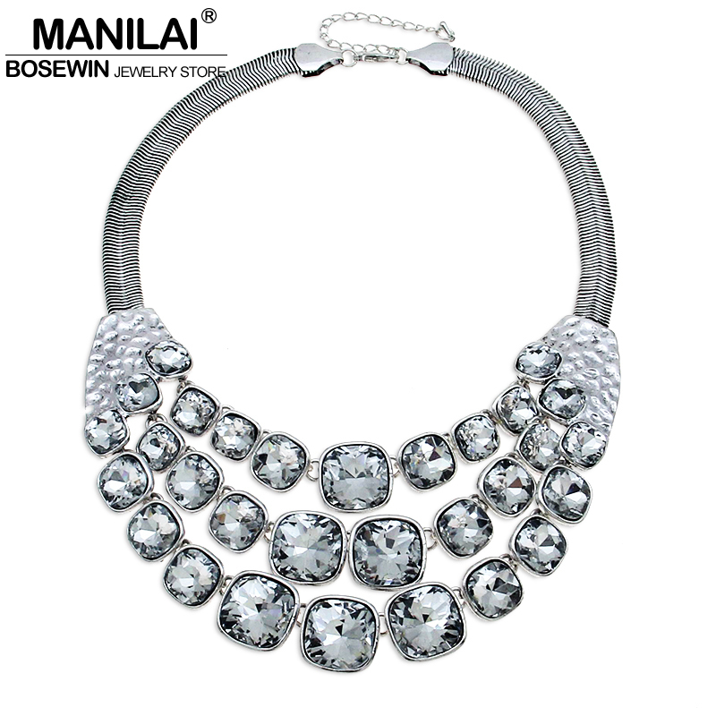 MANILAI Vintage Metal Glass Bead Chunky Chain Big Choker Necklace Women Accessories Chunky Collares Statement Necklaces