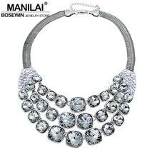 Manilai vintage de cristal de metal choker collar mujeres accesorios del grano chunky gran cadena chunky collares declaración collares collier