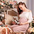 Maternity Mother O-neck Drain Back Ankle-Length Dresses High Elastic Women Pregnancy Vestido