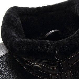 Image 4 - Gours Winter Echtem Leder Jacken für Männer Schwarz Schaffell Pilot Jacke und Mäntel Warme Doppel konfrontiert Flug Anzug Neue 4XL