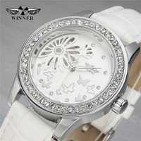 Women Dress Watches Luxury Brand WINNER Diamond Butterfly Flower Skeleton Dial Mechanical White Leather Strap Ladies