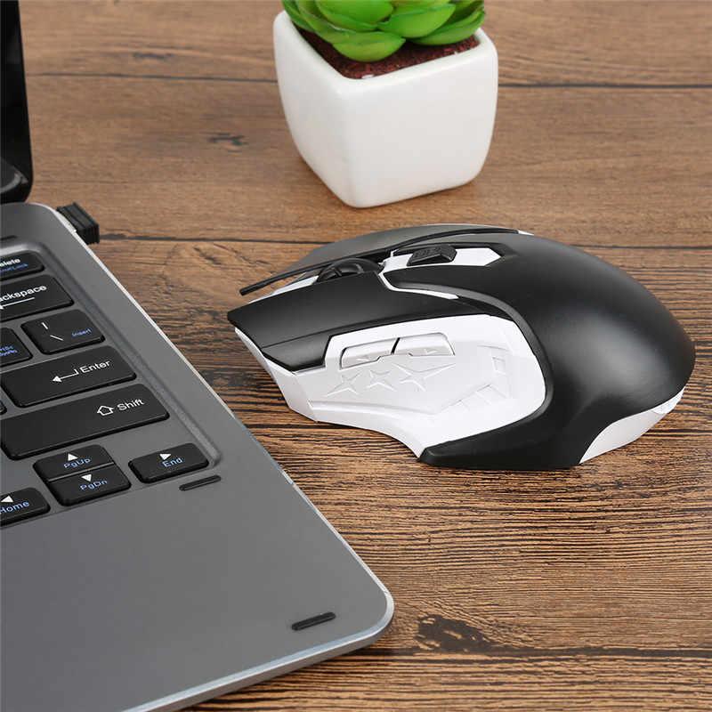 新 2.4 グラムワイヤレスマウスポータブル光学 4 ボタン 1200 Dpi マウスコンピュータ PC ノート Pc ゲーマーの黒、白、青赤色マウス