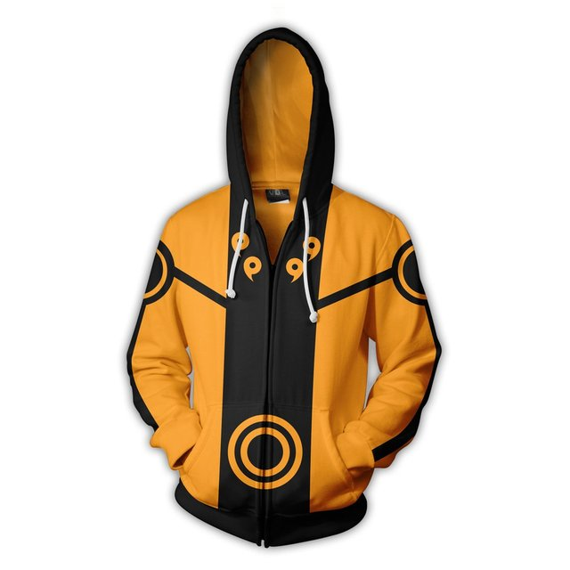 Naruto Sage Mode Pattern Zipper Hoodie