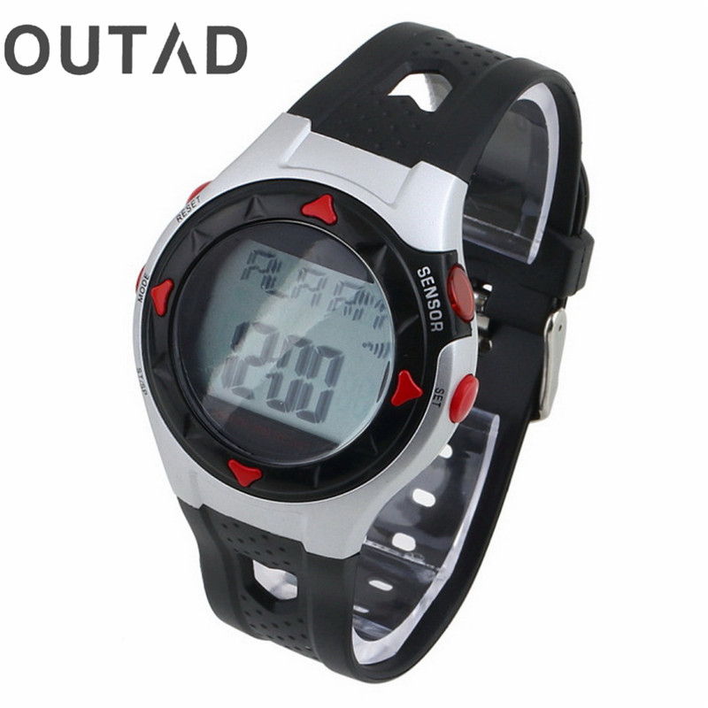 OUTAD relogio 1pcs Outdoor LED Watch Cycling Monitor Wrist Watches Calorie Waterproof Pulse Heart Rate Counter Sport Exercise multifunction pulse heart rate calorie wrist watch silver black