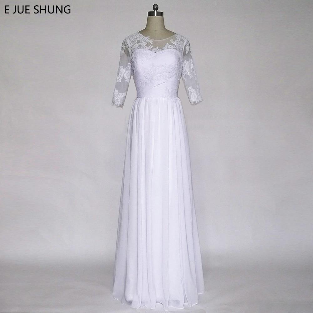 E JUE SHUNG Hängsmycke Vit Blonde Appliques Beach Bröllopsklänningar A-line 3/4 Sleeves Boho Bröllopsklänningar Skärmdräkt