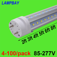 (10 Pack) Free Shipping LED Tube V shaped Bulb 270 angle T8 G13 two pins 2FT=12W 3FT=18W 4FT=24W 5FT=30W 6FT=36W 8FT=48W 85-277V