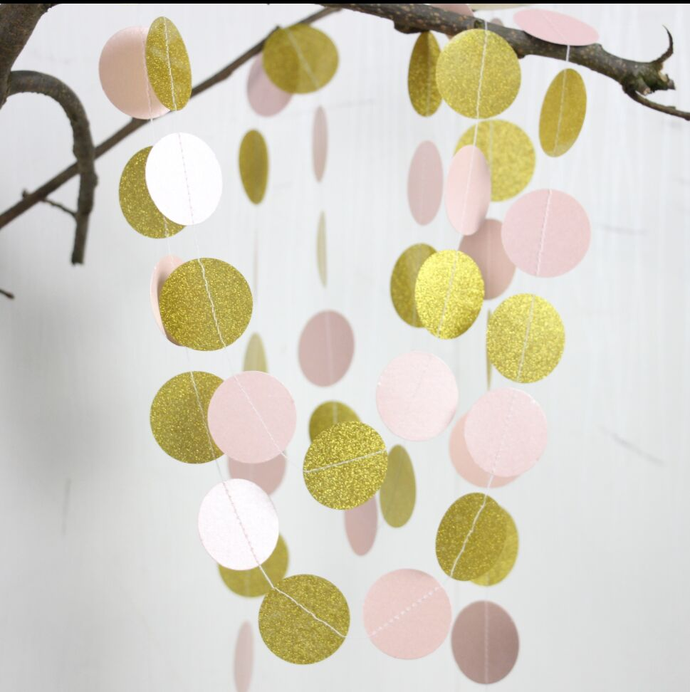 Pink and Gold Glitter Garland Baby Girl Nursery Art Pink Wall Accent ...
