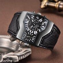 Oulm marque de luxe hommes montres deux fuseaux horaires montre à Quartz large bracelet en cuir synthétique polyuréthane 6 couleurs mode homme montre décontracté homme heures